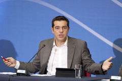 77 tif Alexis Tsipras. THESSALONIKI, GREECE - SEPT 16: Syriza leader Alexis Tsipras press conference of 77th Thessaloniki International Fair in the northern port Royalty Free Stock Photography