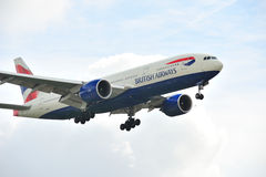 777 авиалиний Боинг british Стоковые Изображения RF
