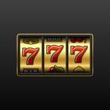 777. El ganar en máquina tragaperras. Vector. Imagen de archivo libre de regalías