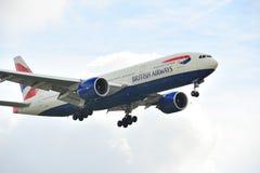 777 flygbolag boeing british royaltyfria bilder