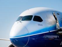 787波音dreamliner鼻子 库存图片