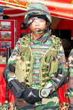 78th Malaysian Army Anniversary Celebrations 2011. KUALA LUMPUR, MALAYSIA-MAR 5:Unidentified soldier with Future Hi-tech military gadget at the 78th Army Stock Images