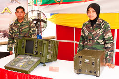 78th Malaysian Army Anniversary Celebrations 2011. KUALA LUMPUR, MALAYSIA-MAR 5:Unidentified soldier with communication device at the 78th Army Anniversary Stock Photos