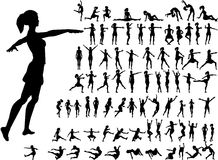 79 active women silhouettes. 79 women silhouettes in dance and sport active poses Royalty Free Stock Photography