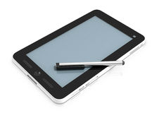 7inch PC Tablet with stylus pen. A 7 inch PC tablet with a Stylus pen lying across its face Royalty Free Stock Photos