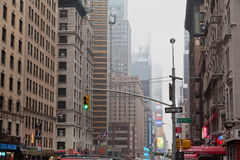 7th Avenue under the Fog New York City Stock Photo