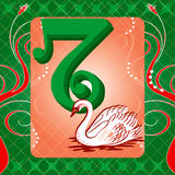 7th Day of Christmas. Vector Illustration Card for the 12 days of Christmas. Seven Swans Swimming Royalty Free Stock Photo