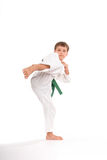 7yo Green Belt. Chambering for a round kick stock photos