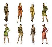 8个不同时装模特儿 库存图片