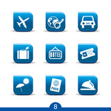 8个图标系列使旅行光滑 免版税库存图片