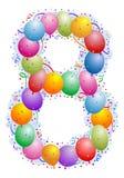 8个气球五彩纸屑编号 库存图片