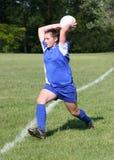 8个活动足球青少年的青年时期 图库摄影