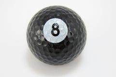 8个球黑色高尔夫球编号 库存照片