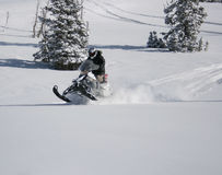 8个车手snowmachine雪上电车 库存图片