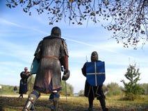 8个骑士全副盔甲 库存图片