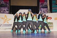 8名breakdance女孩成员sm超级小组 免版税库存图片