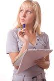 8白肤金发的查出的笔记本妇女 库存照片