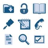 8蓝色图标集 免版税库存图片