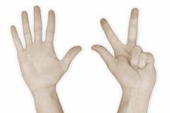8 åtta hand nummer Royaltyfri Foto
