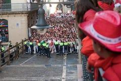 8 бык pamplona -го июль бежит Испания Стоковая Фотография RF