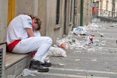 8 как человек pamplona Испания в июле неопознанная были Стоковое Фото