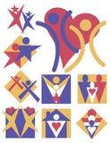 8 людей логосов собрания Стоковое Изображение RF