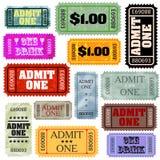 8 различных билетов шаблона типов eps установленных Стоковое Изображение