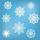 8 снежинок белых Стоковая Фотография RF