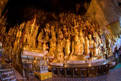 8,000 Buddha;s cave, golden leaf for these holy Stock Photos