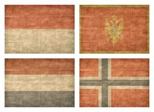 8/13 Flags of European countries. Vintage collection of european country flags isolated on white background. Monaco, Montenegro, Netherlands, Norway stock illustration