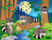 8个动物多种森林场面 免版税库存照片