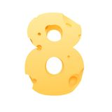 8 (3D). Cheese number 8 new year Royalty Free Stock Images
