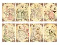 套8张维多利亚女王时代的时代妇女的时装样片卡片 免版税库存图片