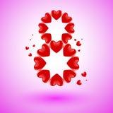 8 των καρδιών Στοκ Φωτογραφίες