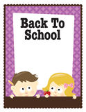 8.5x11 Back To School flyer (boy/girl). Back To School flyer template with children Stock Images