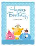8.5x11 birthday flyer/poster template. With blue pattern border Stock Photos