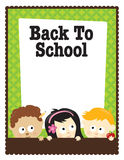 8.5x11 flyer (mixed nationalities). Back To School flyer template with children Royalty Free Stock Photography