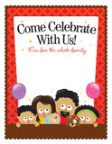 8.5x11 flyer template - African American Family. Illustration of an African American family inviting to celebrate Stock Image