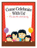 8.5x11 flyer template - Asian Family. Illustration of an Asian family inviting to celebrate Stock Photos