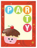 8.5x11 Party Flyer/Poster. Party template with cupcake and cherry Royalty Free Stock Photo