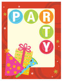 8.5x11 Party Flyer/Poster. Party Template with hat, gift, and noise maker Royalty Free Stock Photography