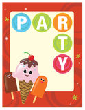 8.5x11 Party Flyer/Poster Template. With ice cream vector illustration