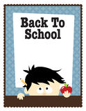 8.5x11 School Flyer Template. Back to school 8.5x11 Flyer Template with boy holding an apple Royalty Free Stock Image