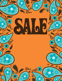 8.5x11 Seventies Style Sale Shell/Poster Template. Seventies Paisley border template for poster royalty free illustration
