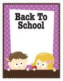 8.5x11 terug naar de vlieger van de School (jongen/meisje) Stock Afbeeldingen