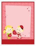 8.5x11 Valentine's Template. 8.5x11 flyer template with children sharing valentines stock illustration