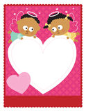 8.5x11 Valentine Flyer. 8.5x11 inches template with baby angels holding a heart vector illustration