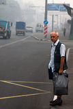 8 of August 2010. Moscow under smoke. Passenger is vaiting for the bus Stock Images