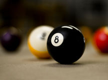 8 Ball on the Billiard Table Royalty Free Stock Photo