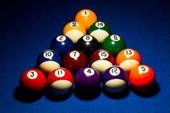 8 ball break. Correct 8ball break sequence. Dramatic lighting on blue felt Royalty Free Stock Images